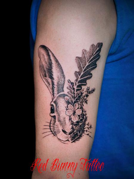 ウサギと花・植物のタトゥーデザイン 動物・rabbit・flower