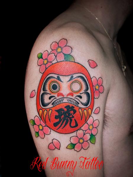 ダルマ・達磨と桜の刺青・タトゥーデザイン 縁起物 Daruma tattoo