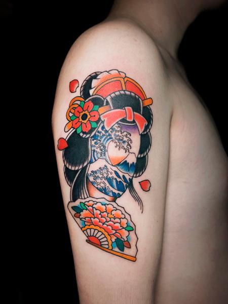 芸者 富士山 アメリカントラディショナル タトゥー 日本 japanese souvenir tattoo