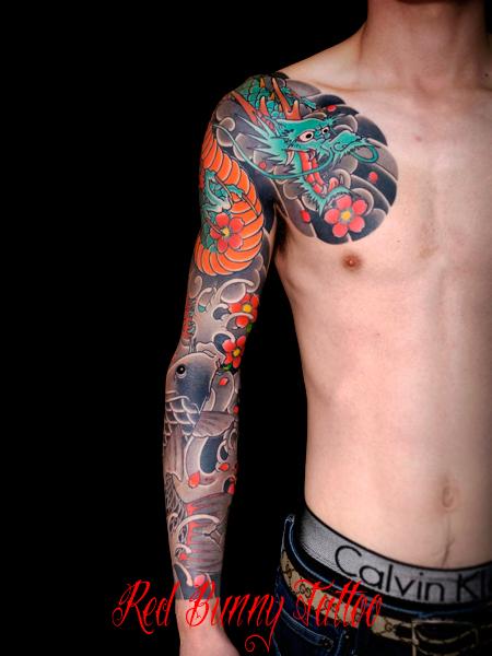 龍・鯉・桜の刺青・和彫りのデザイン
