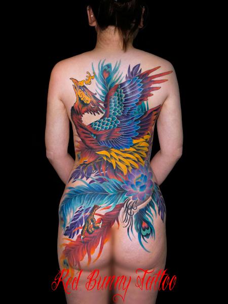 鳳凰の刺青・タトゥーデザイン 女性の背中一面 和彫り houou-phoenix-tattoo-woman