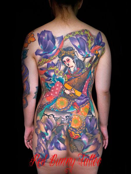 弁財天 女性 刺青 和彫り 背中一面 タトゥーデザイン japanese tattoo irezumi