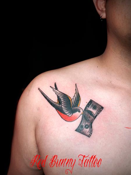 ツバメ 鳥 ドル札 タトゥーデザイン 両胸 swallow dollar tattoo