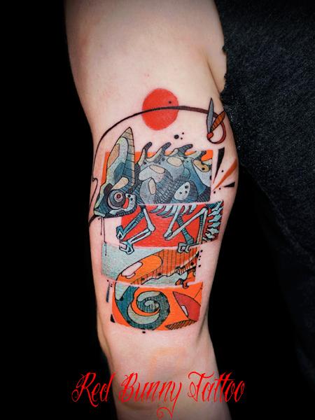 カメレオンのタトゥーデザイン 爬虫類・マグヌス デザイン chameleon tattoo