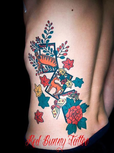 花札・猪鹿蝶の刺青、タトゥーデザイン