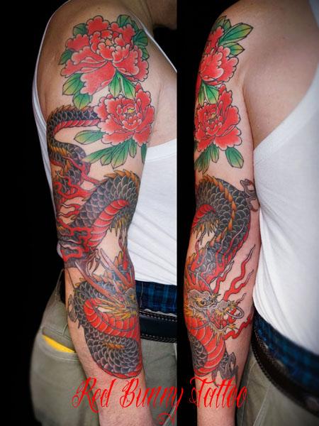 龍と牡丹の刺青・タトゥーデザイン