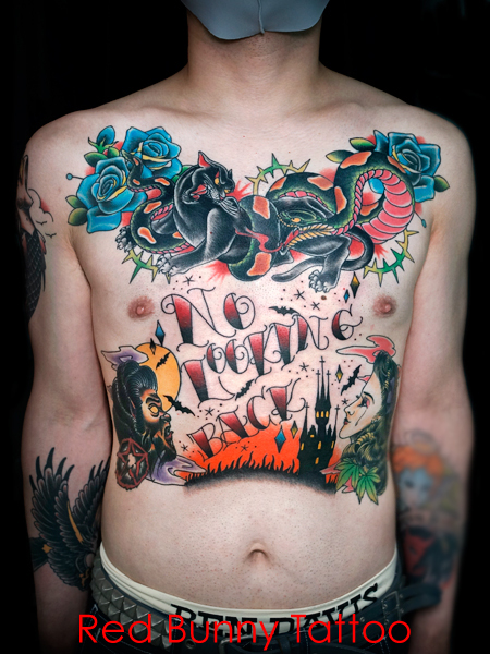 アメリカントラディショナル オールドスクール タトゥーデザイン 胸と腹