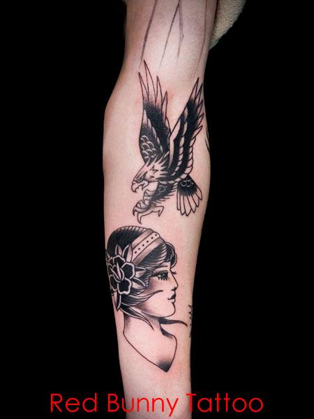 イーグルと女性の顔のタトゥーデザイン アメリカントラディショナルタトゥー