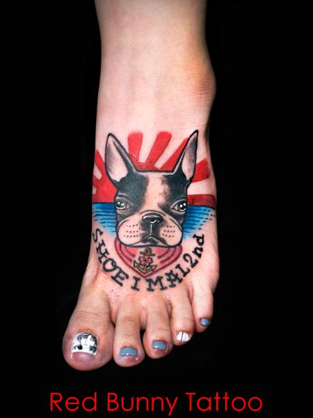 犬 ペット タトゥーデザイン アメリカントラッド タトゥーデザイン 足の甲