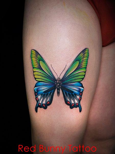 蝶 タトゥーデザイン 腿 カラータトゥー buttefly tattoo