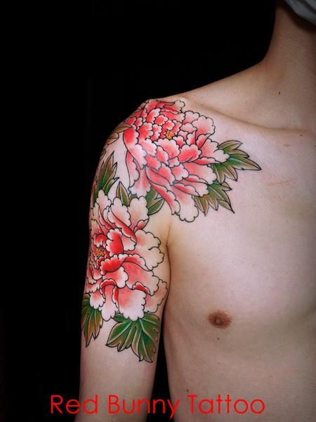 牡丹散らし タトゥーデザイン・刺青画像 花 植物