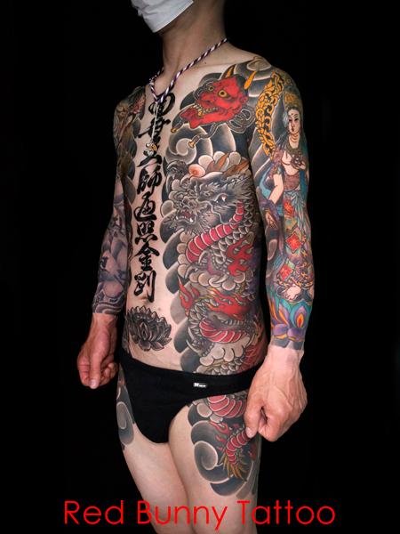 背中一面の鳳凰、龍・般若・生首 胸割り・刺青・和彫り