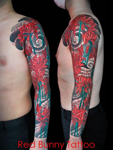 彼岸花 曼殊沙華 花のタトゥーデザイン 画像 flower tattoo