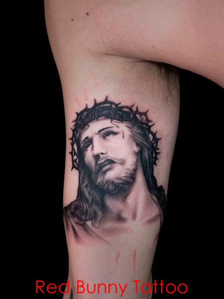 キリストのタトゥーデザイン ブラックアンドグレー  jesus tattoo