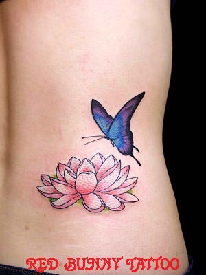 Flower butterfly red bunny tattoo for Lotus flower and butterfly tattoo designs