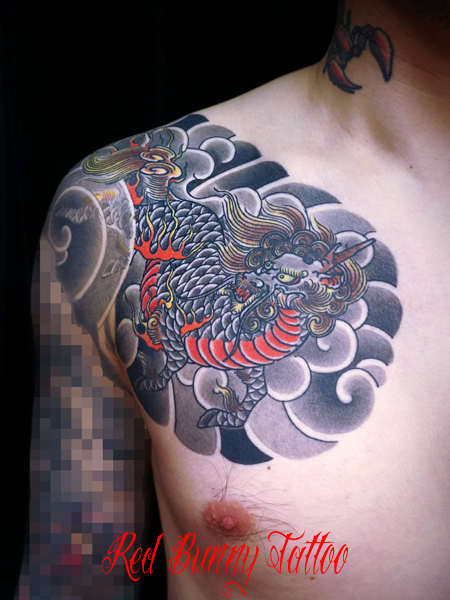 麒麟の刺青・タトゥーデザイン 額・和彫り
