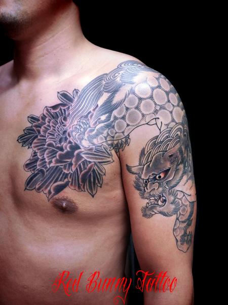 唐獅子牡丹 刺青・タトゥーデザイン