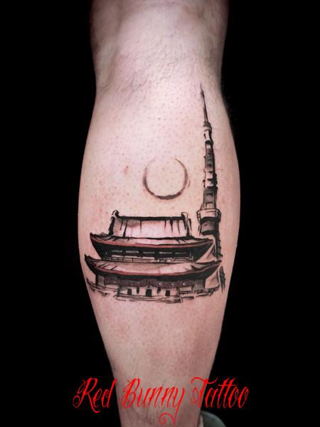 東京タワーと増上寺のタトゥーデザイン  tokyo tattoo