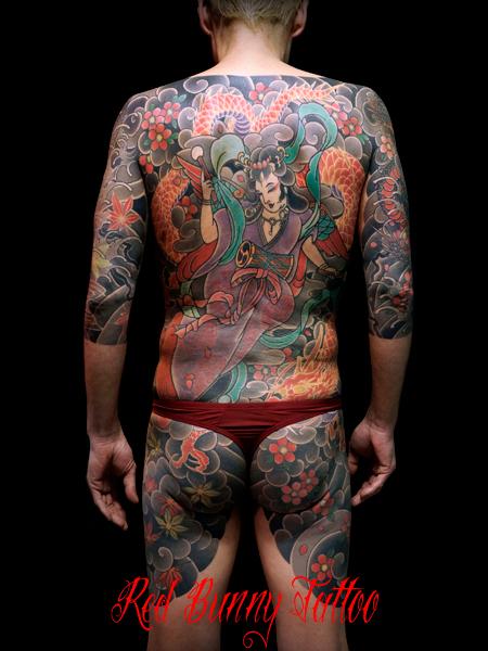 天女 龍 背中 胸割り 刺青 和彫り japanese tattoo irezumi
