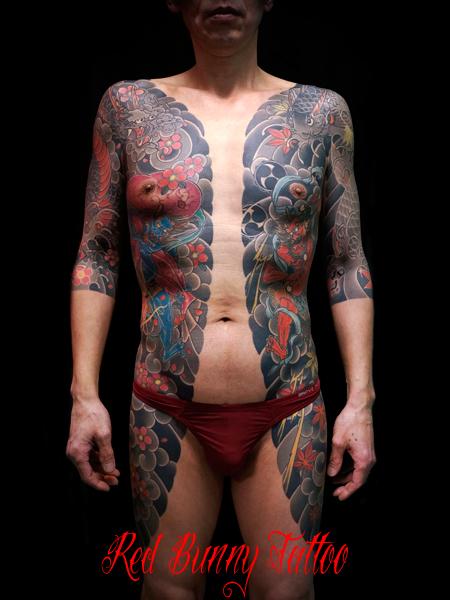 風神雷神 脇腹 胸割り 刺青 和彫り japanese tattoo irezumi