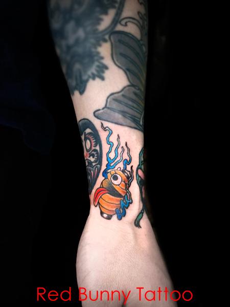 妖怪 提灯お化けのタトゥーデザイン すき間タトゥー